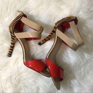 Nude & Red Animal Print Heels